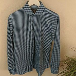 Express Men's blue check dress shirt